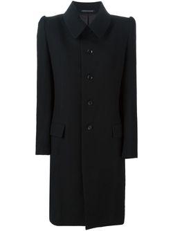 Пальто С Фактурными Плечиками Yohji Yamamoto                                                                                                              черный цвет