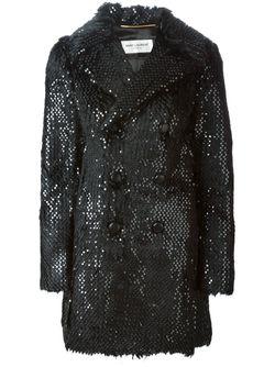 Меховое Пальто С Пайетками Saint Laurent                                                                                                              черный цвет