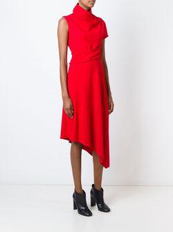 Плиссированное Платье Асимметричного Кроя Carven                                                                                                              красный цвет
