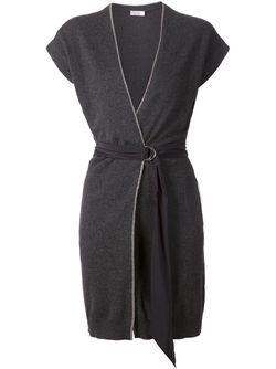 Удлиненный Кардиган С Поясом И Короткими Рукавами Brunello Cucinelli                                                                                                              серый цвет