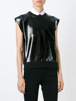 Топ Без Рукавов С Покрытием Saint Laurent                                                                                                              черный цвет
