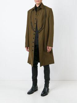 Одно-Бортное Пальто С Декоративной Молнией Ann Demeulemeester                                                                                                              зелёный цвет
