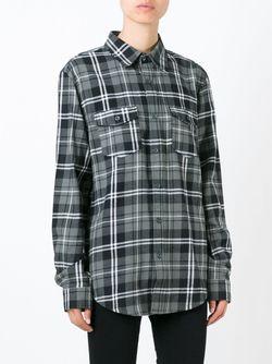Рубашка В Клетку С Принтом Wang 83 LES ARTISTS                                                                                                              серый цвет