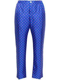 Polka Dot Silk Pyjama Trousers FOR RESTLESS SLEEPERS                                                                                                              синий цвет