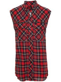 Sleeveless Checked Shirt Filles A Papa                                                                                                              красный цвет