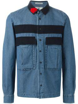 Джинсовая Рубашка С Панельным Дизайном Andrea Pompilio                                                                                                              синий цвет