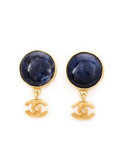 Серьги С Подвеской-Логотипом Chanel Vintage                                                                                                              синий цвет