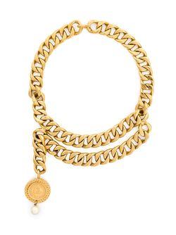Колье С Массивной Цепью Chanel Vintage                                                                                                              серебристый цвет