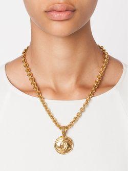 Logo Pendant Necklace Chanel Vintage                                                                                                              желтый цвет