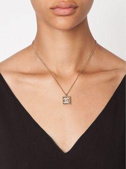 Gold Logo Pendant Necklace Chanel Vintage                                                                                                              желтый цвет