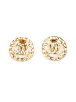 Rhinestone Embellished Logo Earrings Chanel Vintage                                                                                                              Metallic цвет
