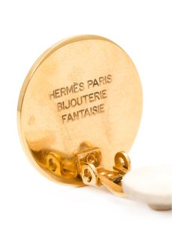 Logo Clip-On Earrings Hermès Vintage                                                                                                              Metallic цвет
