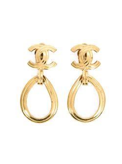 Hoop Clip-On Earrings Chanel Vintage                                                                                                              желтый цвет