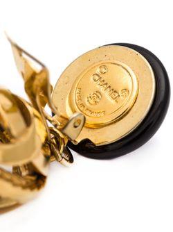 Серьги С Подвеской С Логотипом Chanel Vintage                                                                                                              чёрный цвет