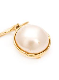 Клипсы С Логотипом Chanel Vintage                                                                                                              белый цвет