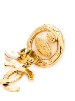 Клипсы С Искусственным Жемчугом Chanel Vintage                                                                                                              желтый цвет