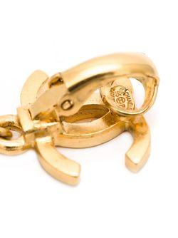 Клипсы С Логотипом Chanel Vintage                                                                                                              желтый цвет