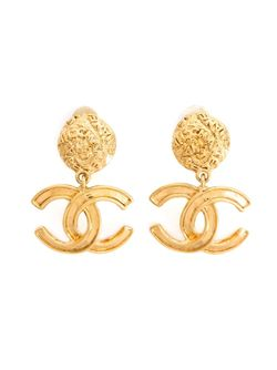 Logo Clip-On Earrings Chanel Vintage                                                                                                              желтый цвет