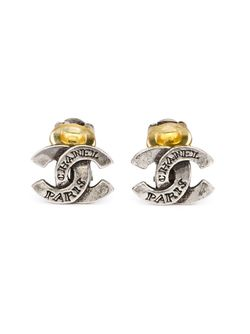 Logo Clip-On Earrings Chanel Vintage                                                                                                              серый цвет