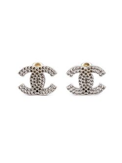 Перфорированные Клипсы С Логотипом Chanel Vintage                                                                                                              белый цвет