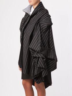Полосатое Пальто-Плед AGANOVICH                                                                                                              чёрный цвет