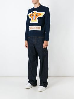 Embroidered Detail Sweatshirt WALTER VAN BEIRENDONCK VINTAGE                                                                                                              синий цвет
