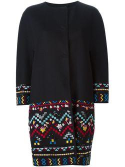 Пальто С Вышивкой Ermanno Scervino                                                                                                              черный цвет