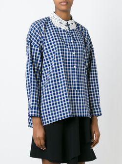 Клетчатая Рубашка С Кружевным Воротником Vivetta                                                                                                              синий цвет