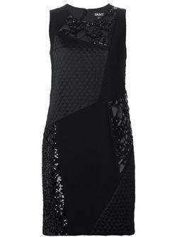 Декорированное Платье Без Рукавов DKNY                                                                                                              чёрный цвет