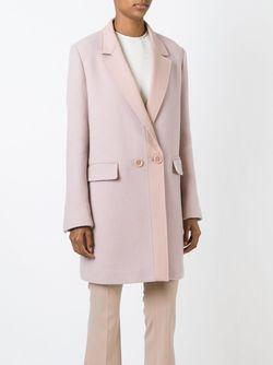 Двубортное Пальто С Контрастными Лацканами Mauro Grifoni                                                                                                              розовый цвет