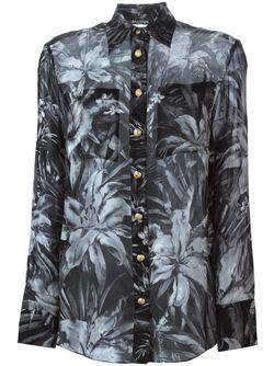 Прозрачная Рубашка С Цветочным Принтом Balmain                                                                                                              чёрный цвет