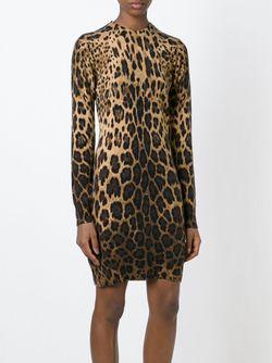 Платье С Леопардовым Принтом Dolce & Gabbana                                                                                                              Nude & Neutrals цвет