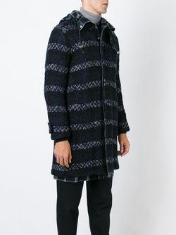 Тканое Пальто С Капюшоном Sacai                                                                                                              синий цвет