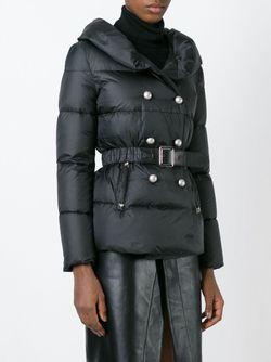 Двубортная Дутая Куртка Ermanno Scervino                                                                                                              черный цвет
