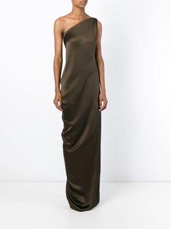 Длинное Платье На Одно Плечо Maison Rabih Kayrouz                                                                                                              коричневый цвет