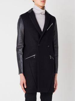 Пальто С Контрастными Рукавами 99 IS                                                                                                              черный цвет