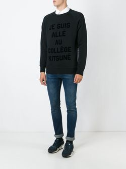 Je Suis Allé Au Collège Kitsuné Sweatshirt Maison Kitsune                                                                                                              черный цвет