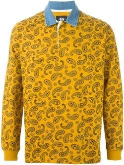 Paisley Print Long Sleeve Polo Shirt Stussy                                                                                                              желтый цвет