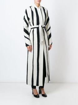 Длинное Полосатое Пальто С Поясом Rochas                                                                                                              чёрный цвет