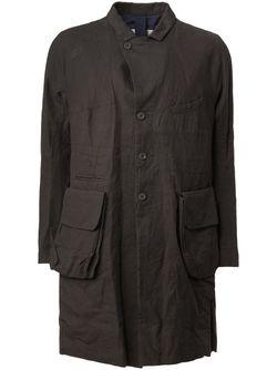Пальто С Кожаными Заплатками На Локтях ZIGGY CHEN                                                                                                              чёрный цвет