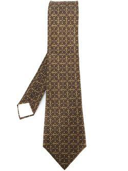 Chain Motif Tie Hermès Vintage                                                                                                              коричневый цвет
