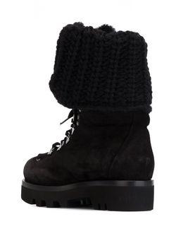 Ботинки На Шнуровке С Трикотажной Деталью Ermanno Scervino                                                                                                              чёрный цвет