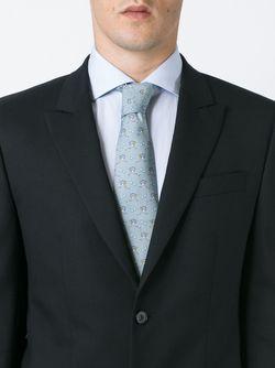 Ostrich Motif Tie Hermès Vintage                                                                                                              серый цвет