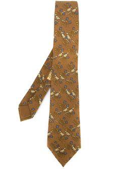 Bird Print Tie Hermès Vintage                                                                                                              коричневый цвет