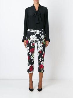 Rose Print Brocade Trousers Dolce & Gabbana                                                                                                              черный цвет