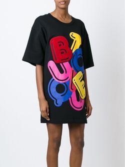 Платье-Футболка С Разноцветным Принтом BOUTIQUE MOSCHINO                                                                                                              чёрный цвет