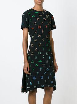 Платье Symbols С Неравномерным Подолом Kenzo                                                                                                              черный цвет
