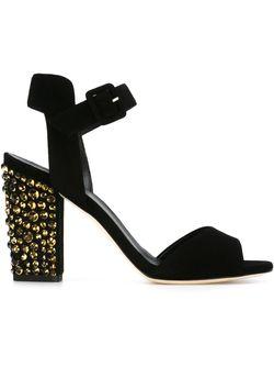 Glitter Heel Sandals Giuseppe Zanotti Design                                                                                                              черный цвет