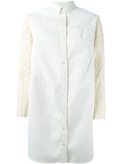 Платье-Рубашка С Вязаными Рукавами Sacai                                                                                                              Nude & Neutrals цвет