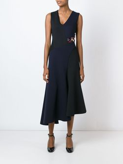 Расклешенное Платье Колор-Блок DKNY                                                                                                              синий цвет